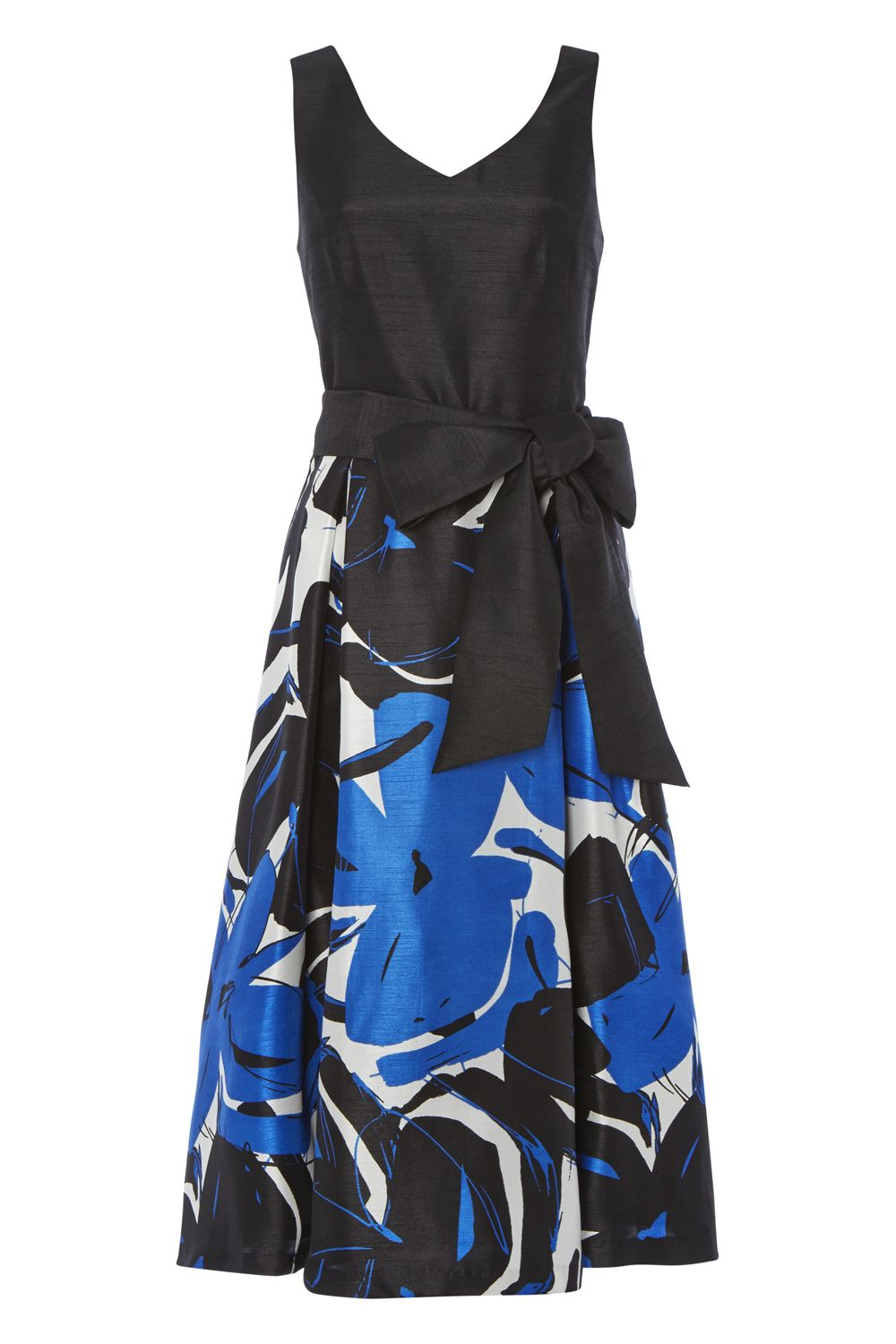 Roman Originals Contrast Floral Fit and Flare Dress, Royal Blue