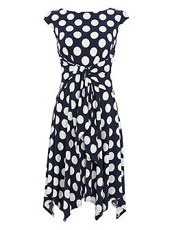 Spot Print Fit and Flare Dress