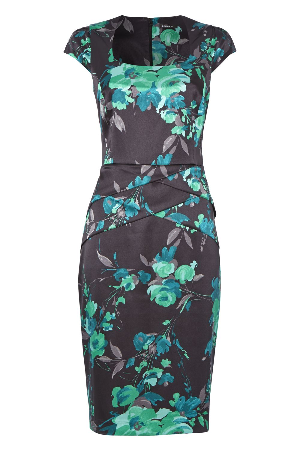 Roman Originals Floral Satin Dress, Green