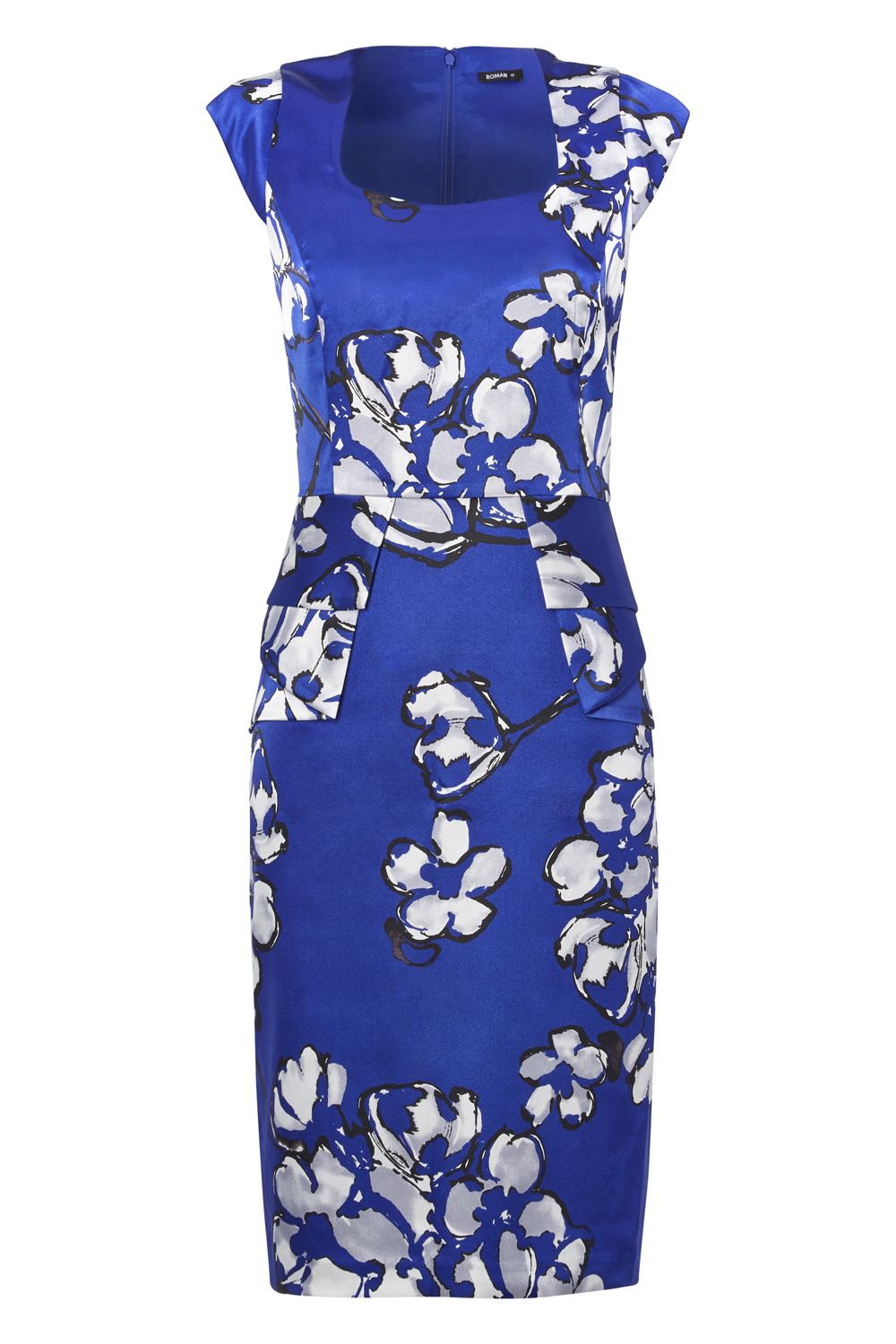 Roman Originals Peplum Floral Shift Dress, Blue