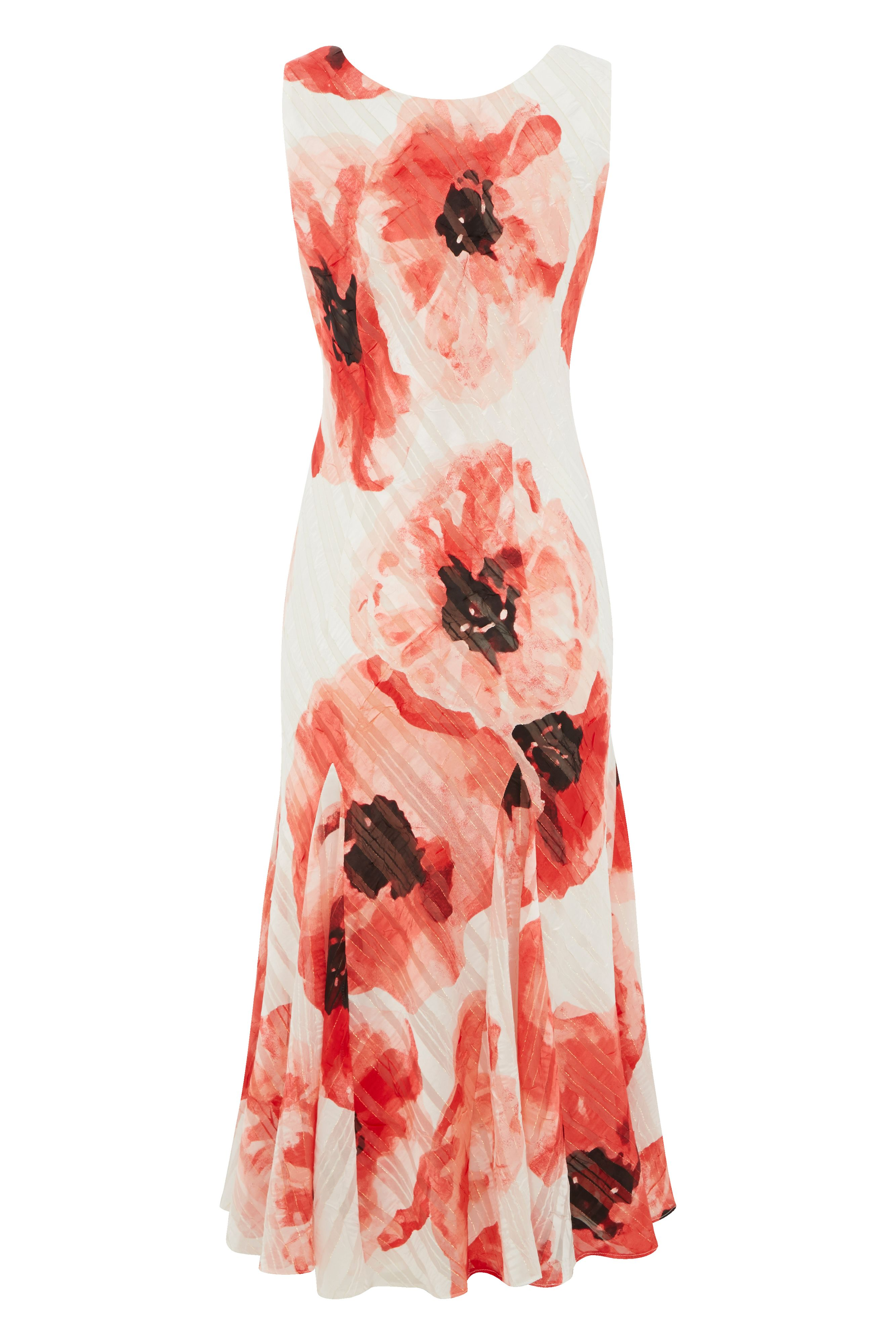 Roman Originals Satin Poppy Print Dress, Red