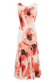 Roman Originals Satin Poppy Print Dress