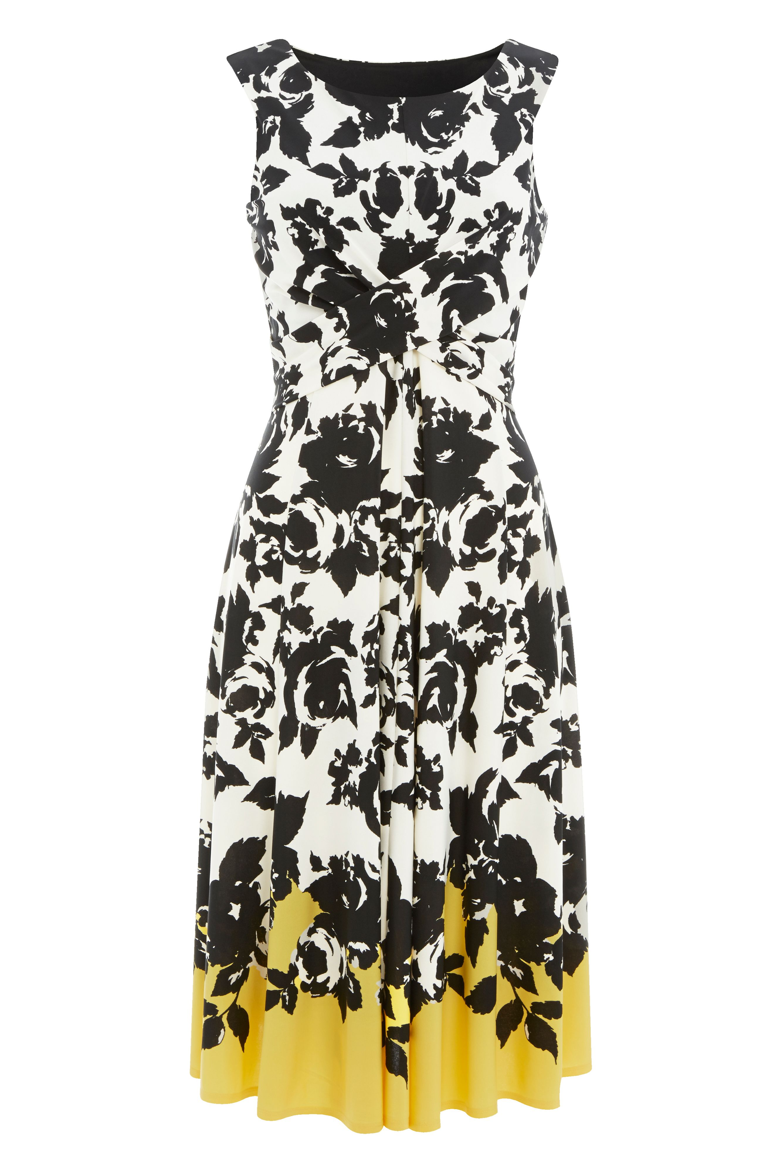 Roman Originals Fit and Flare Contrast Floral Dress, Yellow