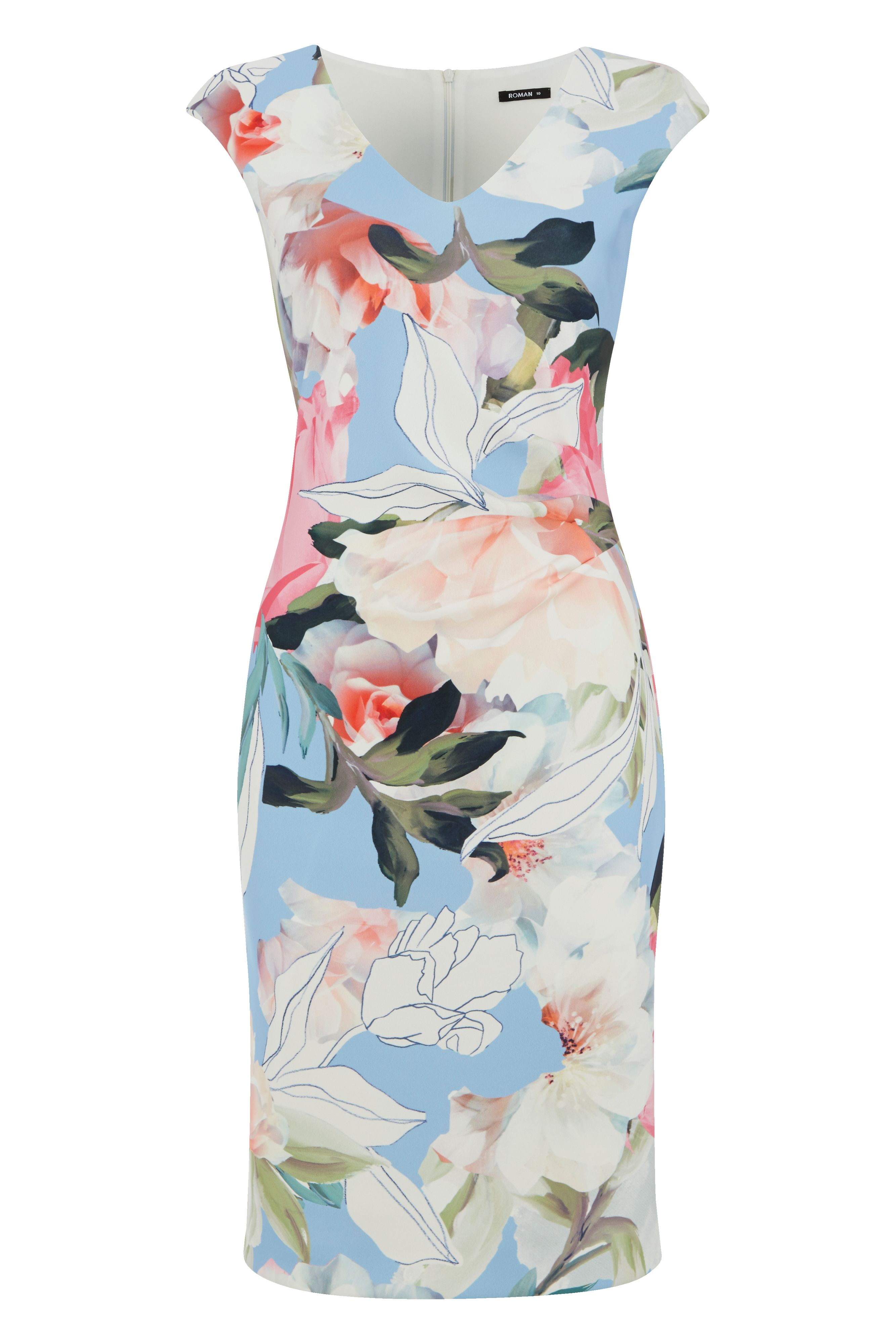Roman Originals Floral Scuba Print Dress, Multi-Coloured