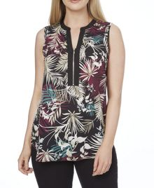 Roman Originals Leaf Print Zip Top