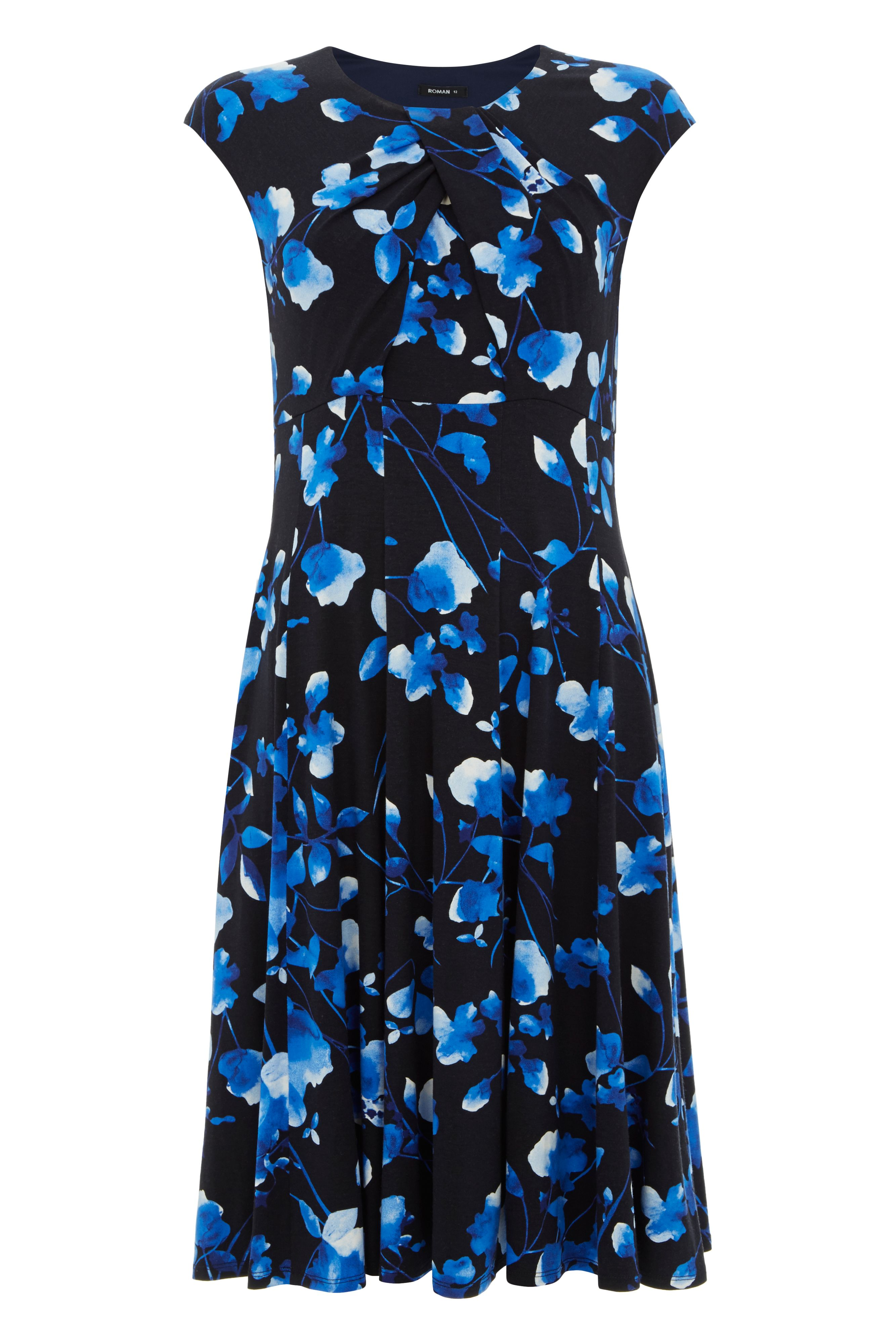 Roman Originals Fit and Flare Floral Print Dress, Blue