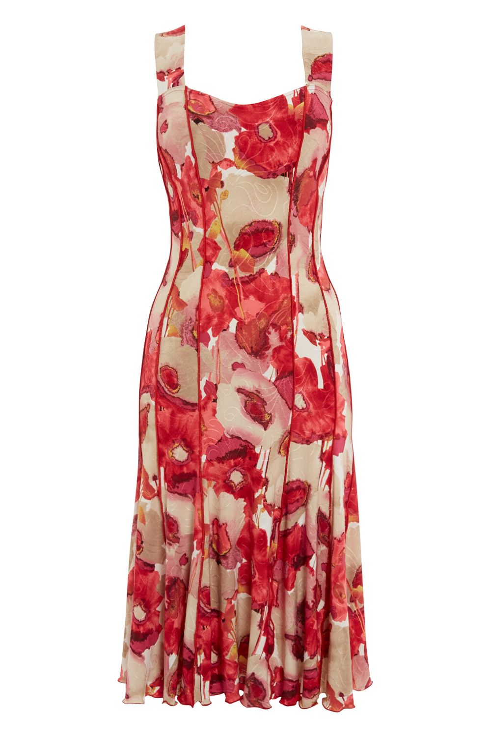 Roman Originals Floral Printed Panel Dress, Red