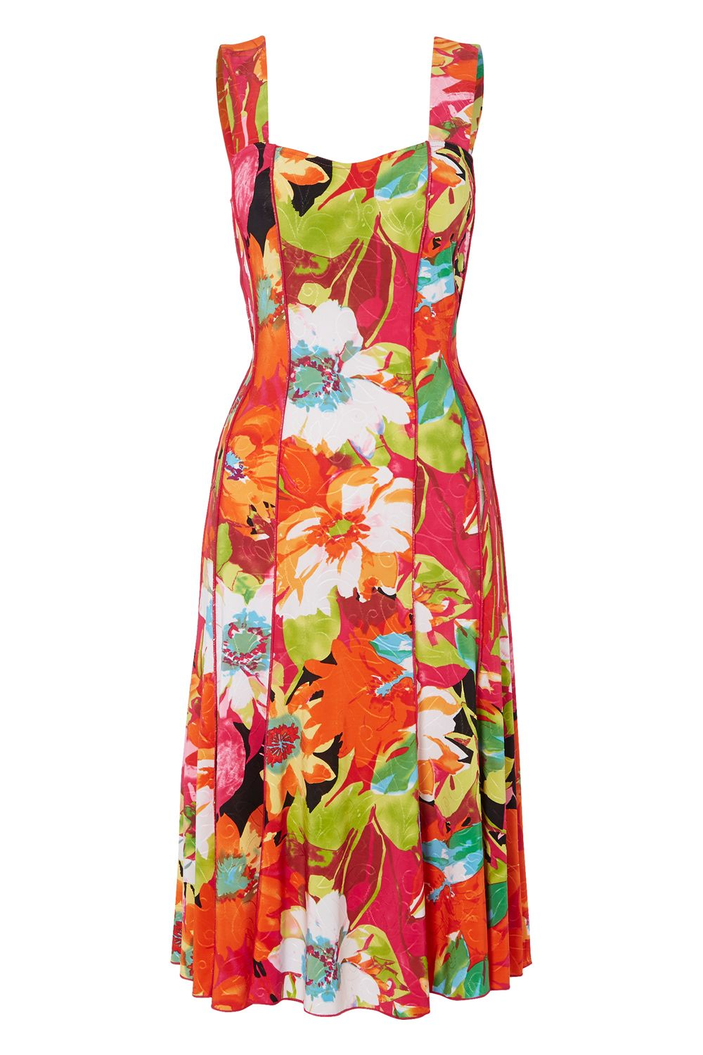 Roman Originals Floral Print Multi Panel Dress, Multi-Coloured