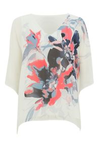 Roman Originals Floral Chiffon Overlayer Top