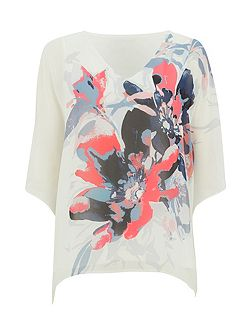 Floral Chiffon Overlayer Top