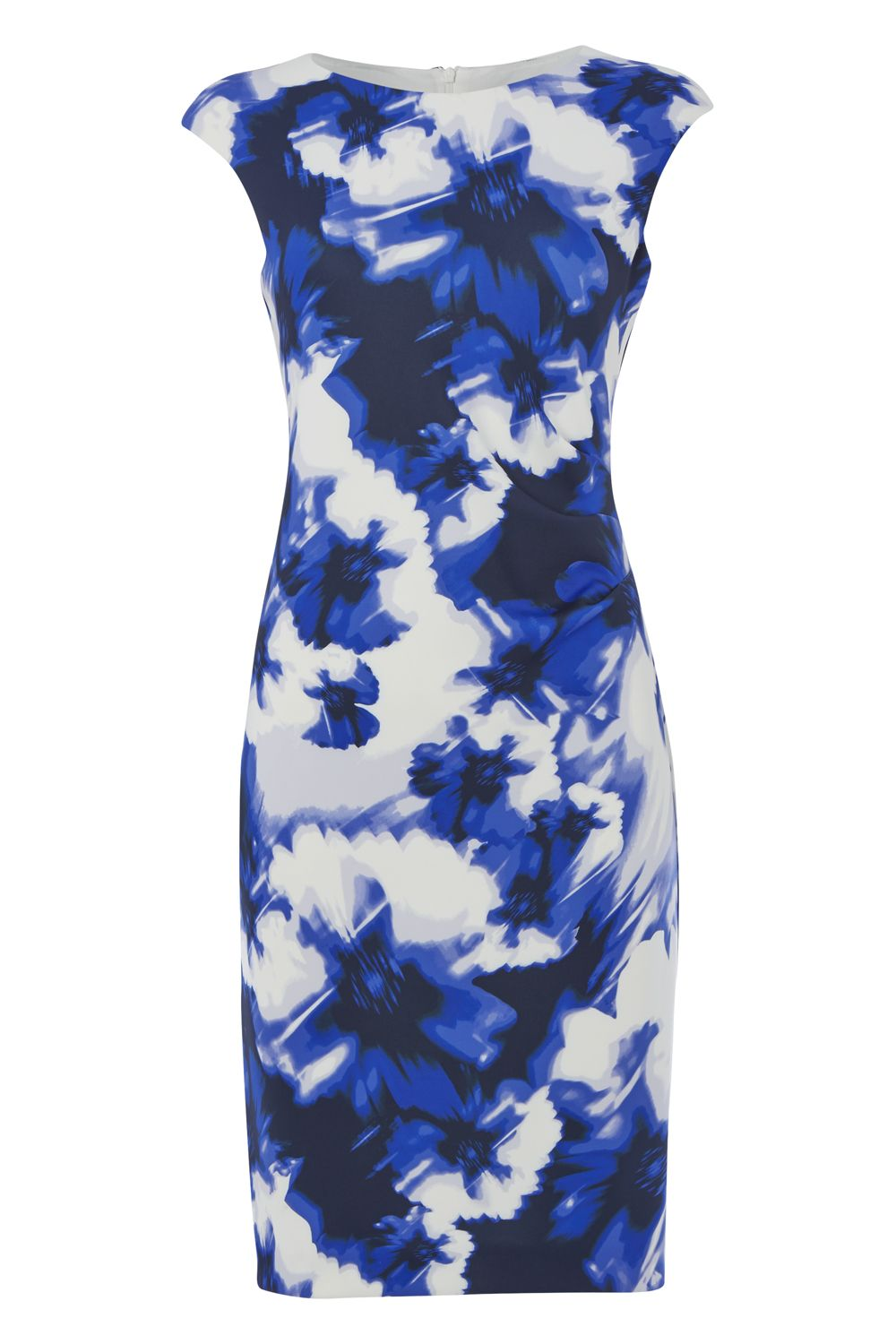 Roman Originals Side Pleat Floral Scuba Dress, Royal Blue