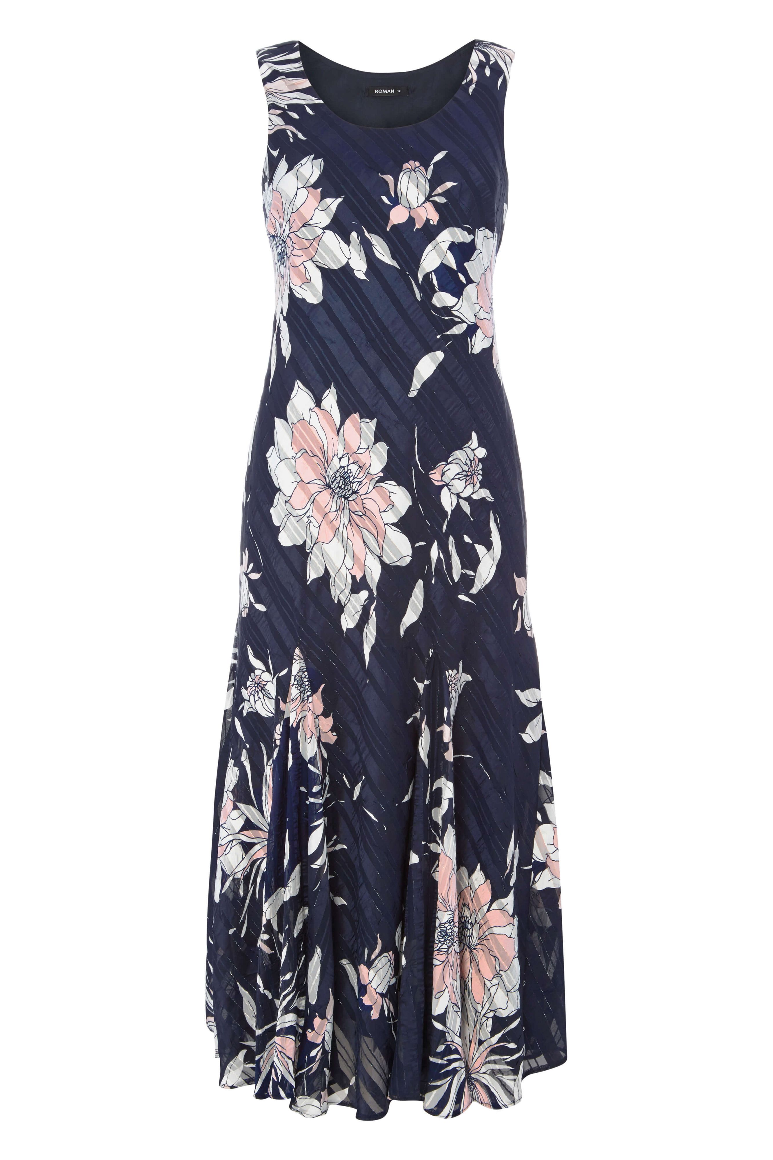Roman Originals Floral Print Bias Dress, Blue
