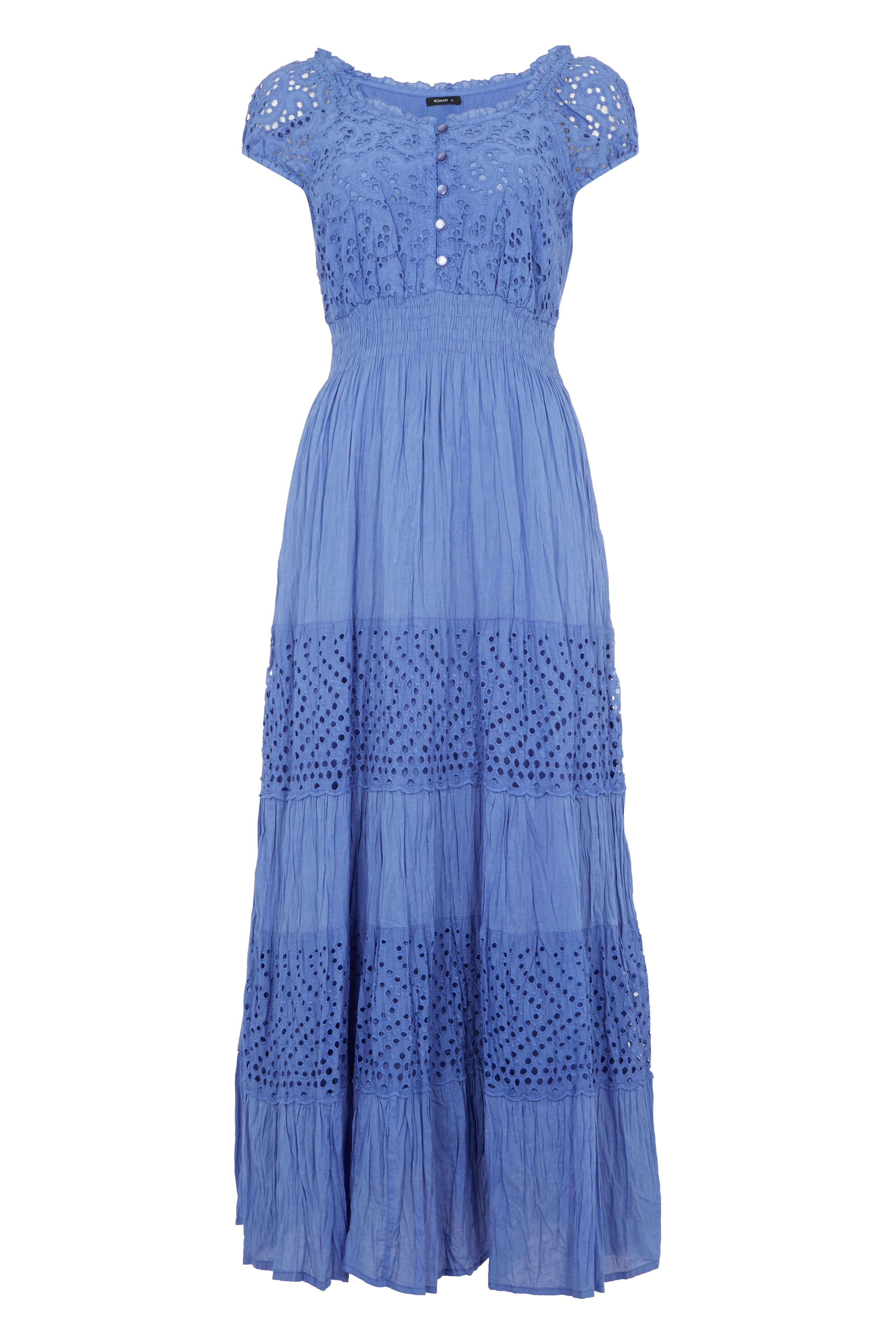 Roman Originals Lace Cotton Midi Dress, Sky Blue