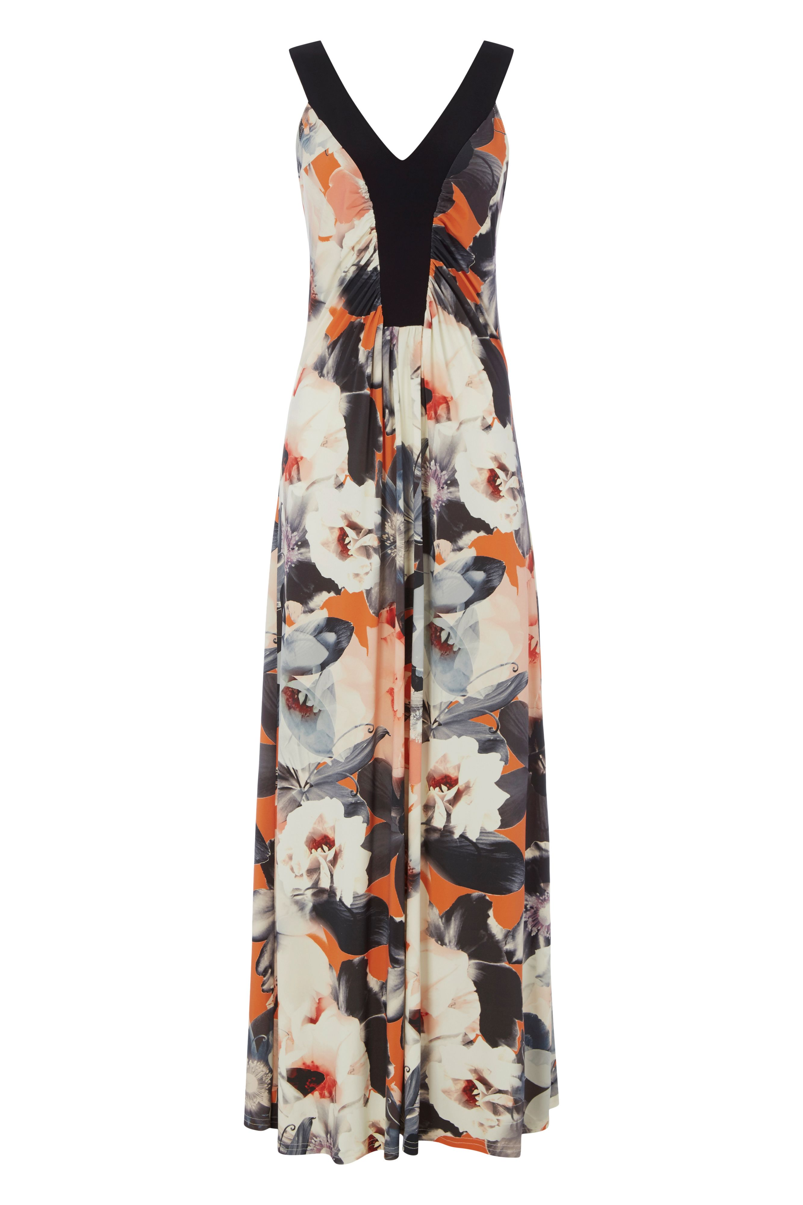 Roman Originals Floral Print V-Neck Maxi Dress, Coral