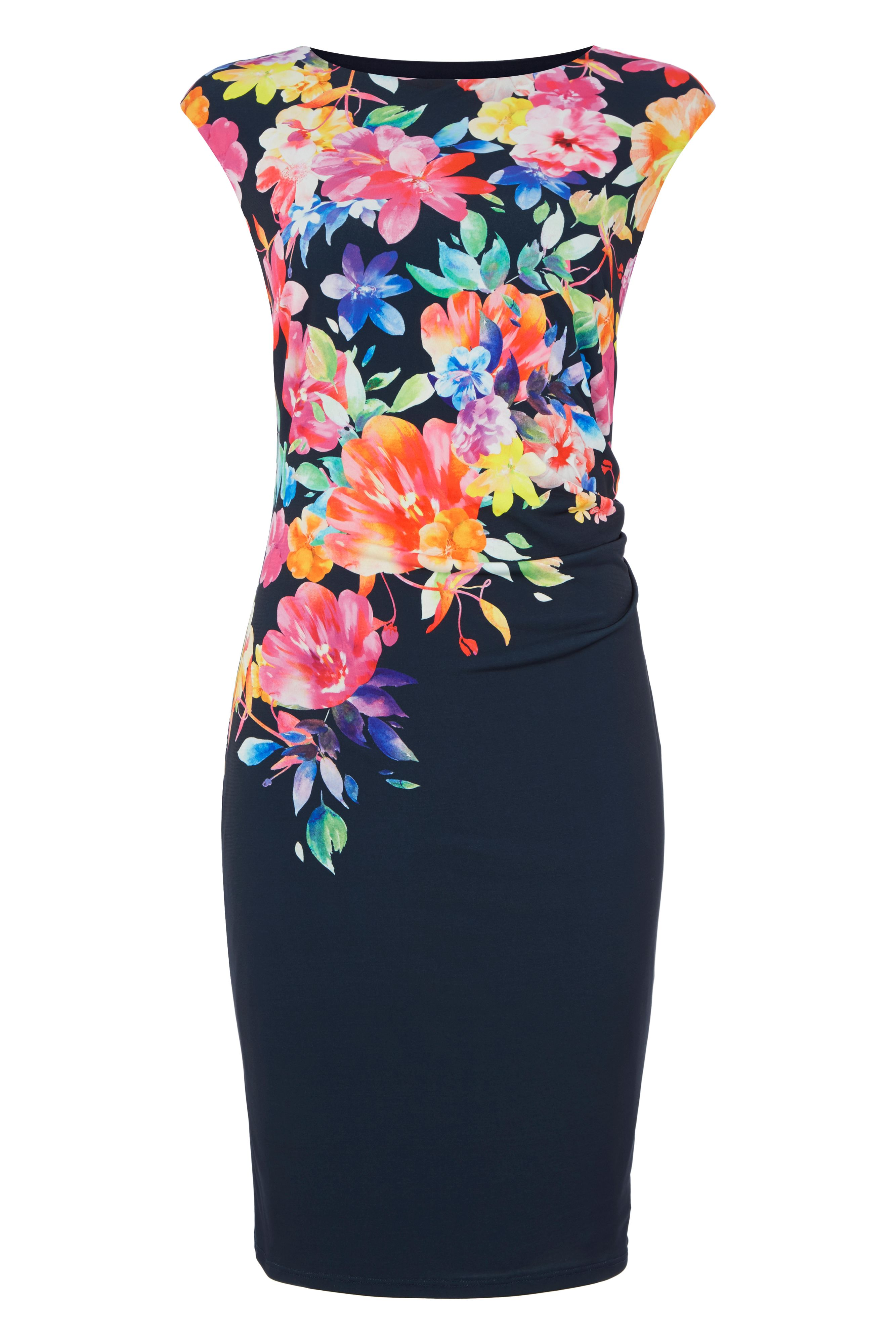 Roman Originals Bright Floral Placement Dress, Blue