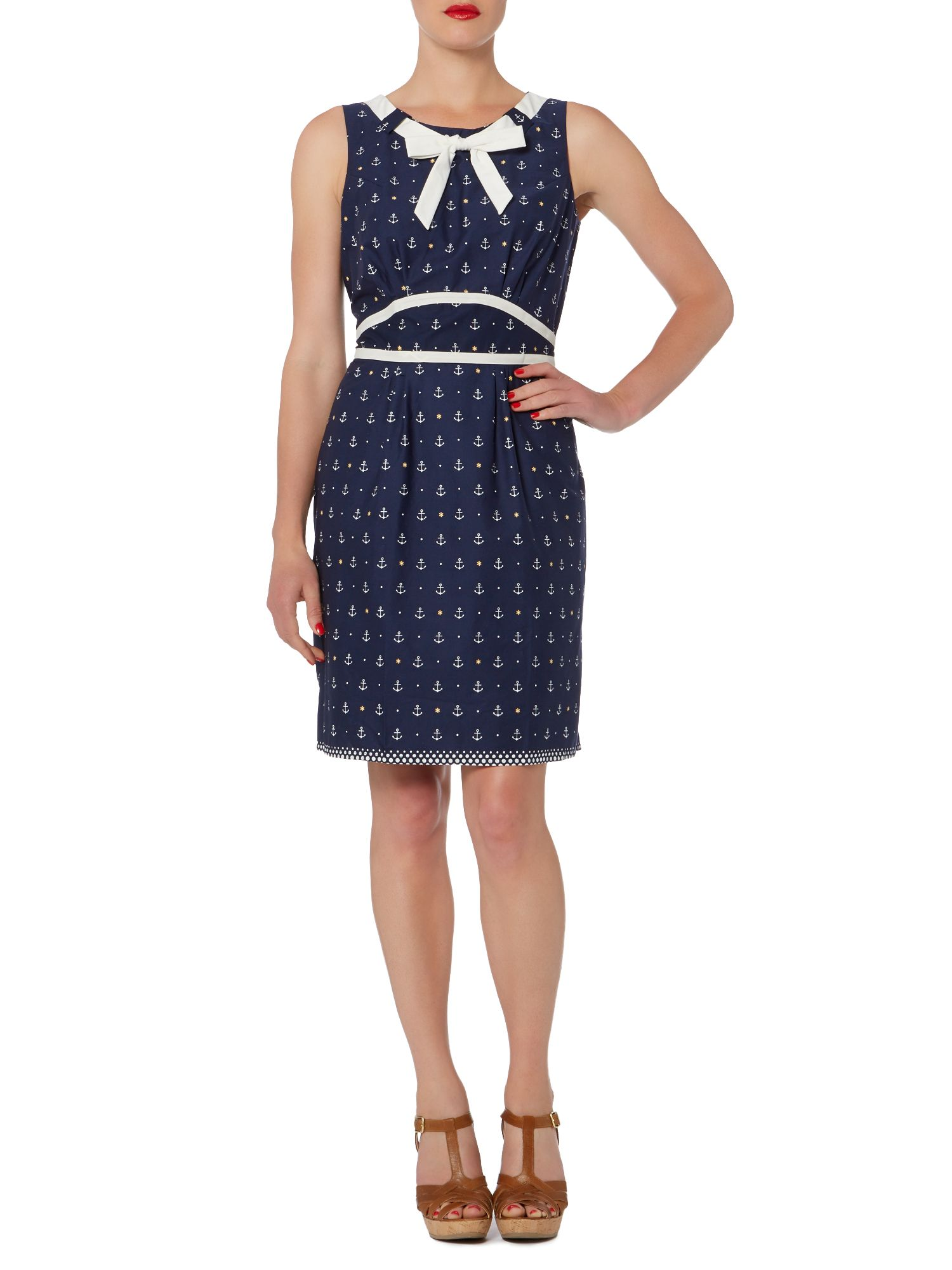 Nautical dress with tie neck