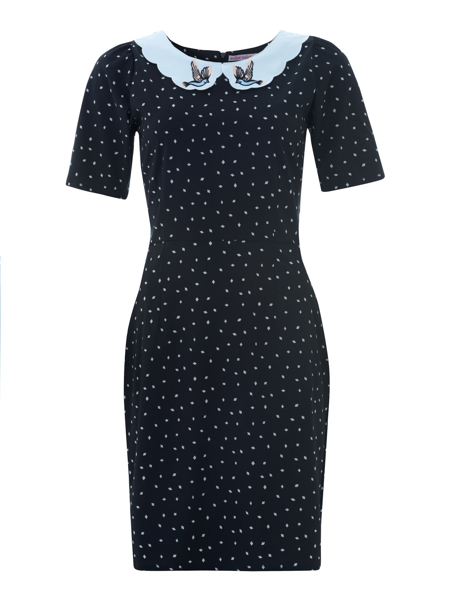 Trollied Dolly Shifty Sista With Collar Black £55.00 AT vintagedancer.com