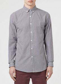 Topman Long sleeve gingham shirt