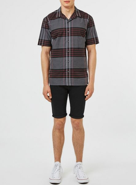 Topman Short sleeve checked revere shirt