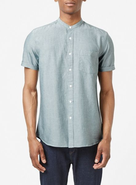 Topman Short sleeve oxford stand collar shirt