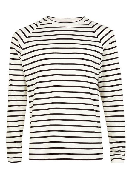 Topman Long sleeve ecru and black stripe tee.