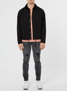 Topman Black Cord Collar Coach Jacket