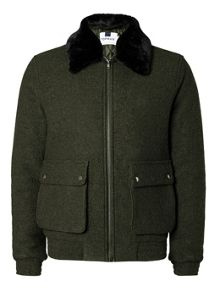 Topman Khaki Boiled Wool Flight Jacket