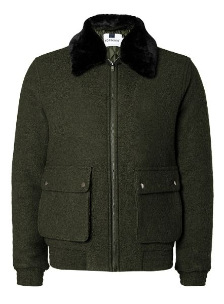 Topman Khaki Wool Mix Flight Jacket