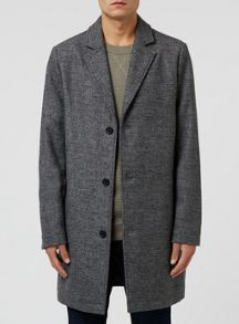 Topman Grey Salt and Pepper Wool Mix Overcoat