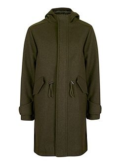 Khaki Longline Fishtail Military Parka