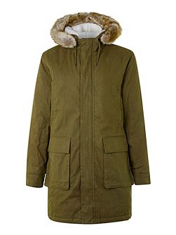 Khaki Faux Fur Hood Long Parka