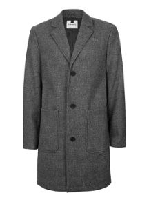 Topman Grey Salt And Pepper Overcoat