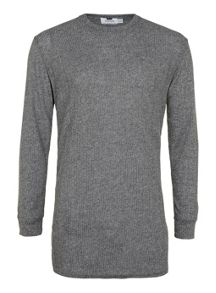 Topman Long  sleeve ribbed texture t-shirt