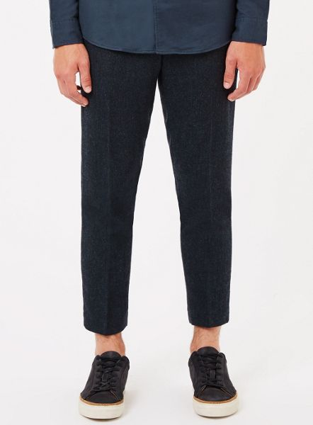 Topman Herringbone Cropped Trousers