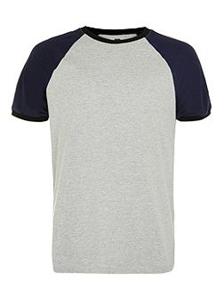 Grey and Navy Raglan Panel T-Shirt