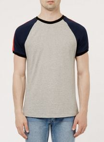 Topman Grey and Navy Raglan Panel T-Shirt