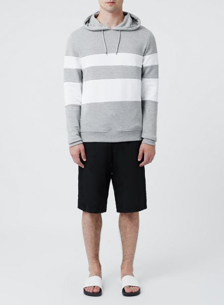 Topman Grey and white panelled hoodie
