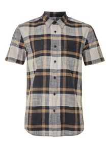 Topman Short sleeve dark checked shirt