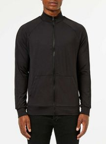 Topman Black track top zip through