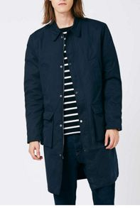 Topman Navy Smart Military Style Mac