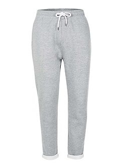 Grey Turn Up Hem Joggers