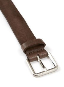 Topman Real Leather Textured Brown Belt