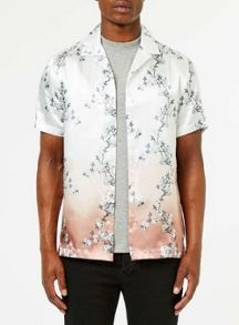 Topman Short sleeve satin rose blossom shirt
