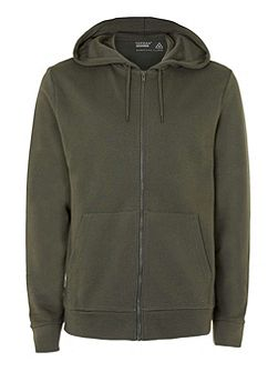 Khaki Zip Through Hoodie
