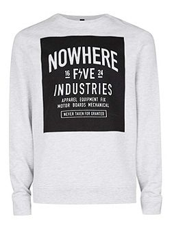 Grey Nowhere print swetashirt