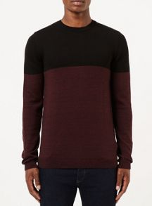 Topman Colour Block Crew Neck Jumper