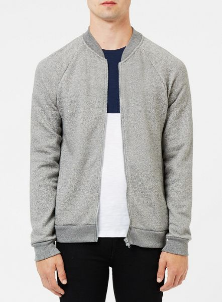 Topman Grey textured bomber