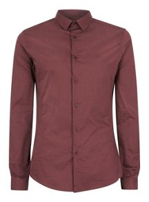 Topman Long sleeve printed stretch shirt