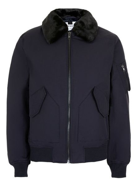 Topman Navy Padded Flight Jacket