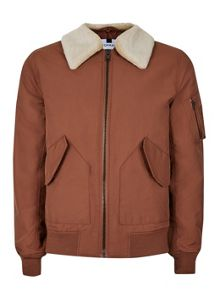 Topman Rust Padded Flight Jacket